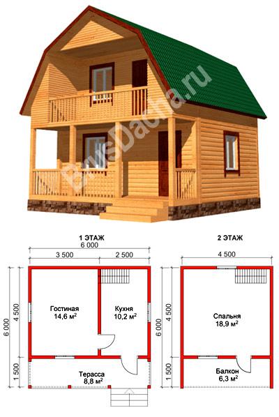 Проект дома из бруса 6х6 м, готовый проект с ценой брусового.